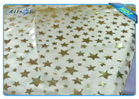 Diposable Golden Star Printed Non woven Tablecloth Roll / Piece For Christmas Decoration