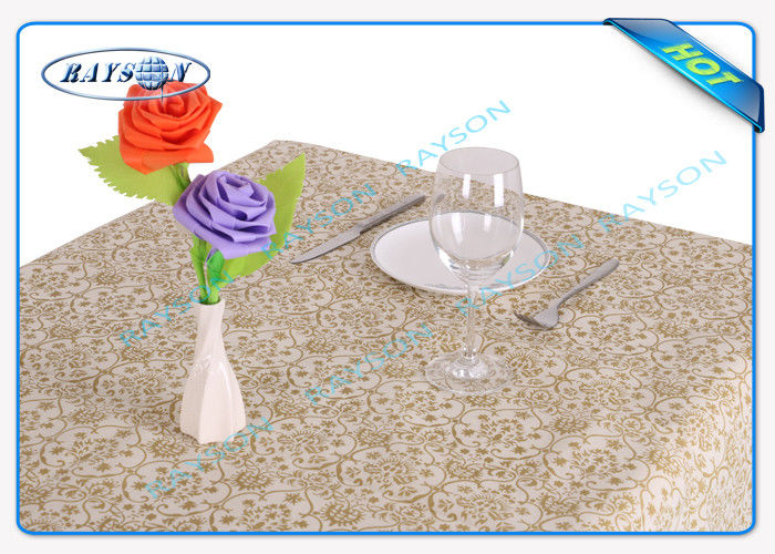 Eco Friendly Pvc Coated Non Woven Table Cover For Wedding Party