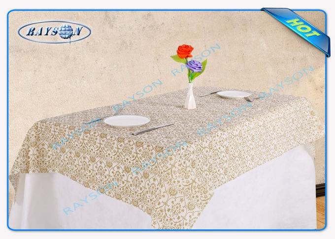 Popular Flower Printed Non Woven Waterproof Tablecloth Party Use
